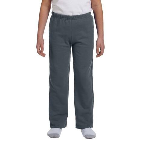 Youth Dark Heather Grey Heavy Blend Open-bottom Sweatpants