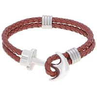 Brown Leather Bracelet with Stainless Steel Anchor Clasp