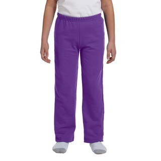 Heavy Blend Youth Open-Bottom Purple Polyester Sweatpants