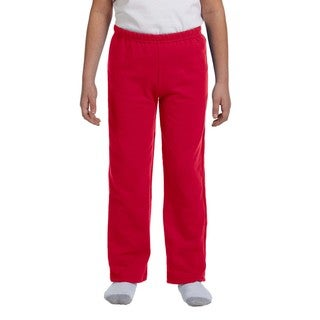 Youth's Red Heavy-blend Polyester Open-bottom Sweatpants