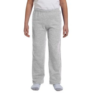 Boys' Sport Grey Polyester Heavy-blend Open-bottom Sweatpants