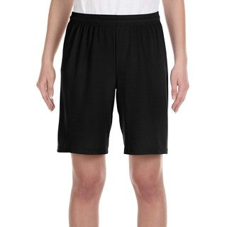For Team 365 Boy's Black Mesh 9-inch Short