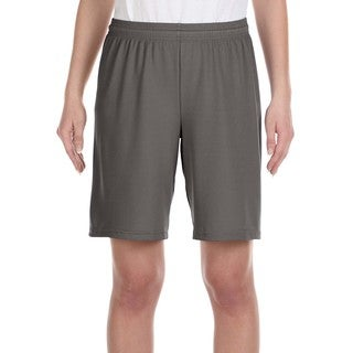 For Team 365 Youth Graphite Polyester Mesh 9-inch Sport Shorts