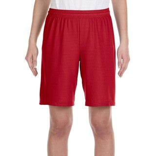 For Team 365 Youth Red Mesh 9-inch Sport Short