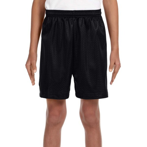 Boy's Black Mesh Tricot-lined 6-inch Shorts. Opens flyout.