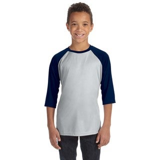 For Team 365 Youth Silver and Navy Baseball T-shirt