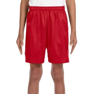 Boys' Scarlet Red Tricot-lined Mesh 6-inch Shorts