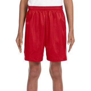 Boys' Scarlet Red Tricot-lined Mesh 6-inch Shorts (5 options available)
