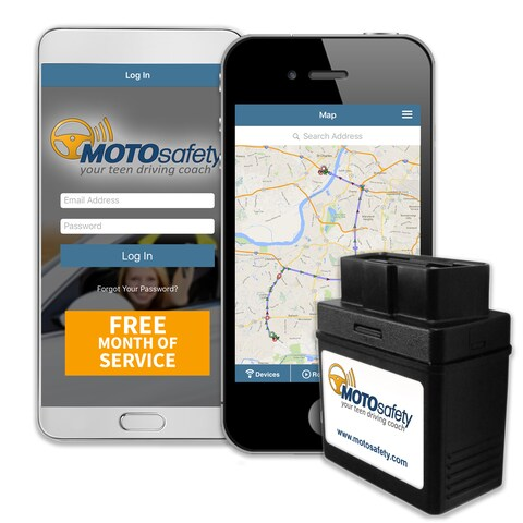MOTOsafety GPS Tracker, GPS Tracking Locator for Real-time Teen Driving Coach with Month of Service, OBD Version - No Contracts