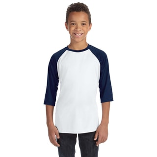 For Team 365 Youth White and Navy Baseball T-shirt