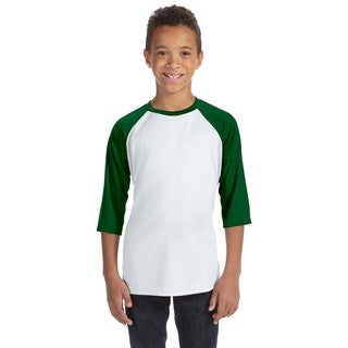 For Team 365 Youth White/Forrest Green Polyester Baseball T-Shirt