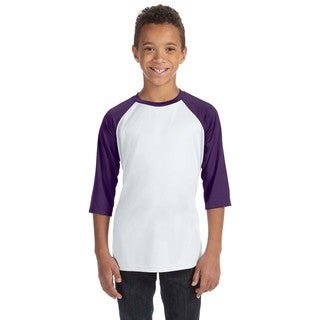 For Team 365 Youth White/Sport Purple Baseball T-shirt