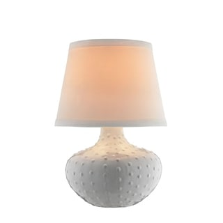 Catalina Dolce White/Black Ceramic Textured Accent Lamp with Shade