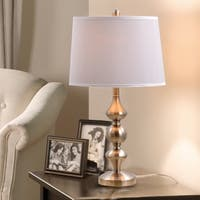 Catalina Lighting Serenity Brushed-nickel Metal Trophy Table Lamp with White Linen Drum Shade