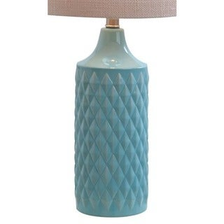 Catalina Lighting Cassie Quilted Ceramic LED Table Lamp With Natural Linen Drum Shade