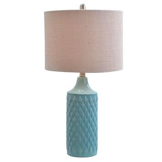 Blue mid century table lamps for less overstock havenside home kihei quilted ceramic led table lamp with natural linen drum shade aloadofball Image collections