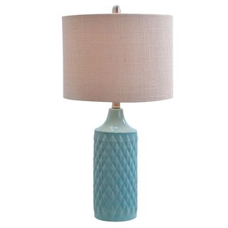 Havenside Home Kihei Quilted Ceramic LED Table Lamp With Natural Linen Drum  Shade