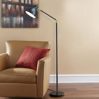 Porch & Den Roosevelt Row Portland Black Brass/Metal 54.5-Inch Articulating Antique Floor Lamp