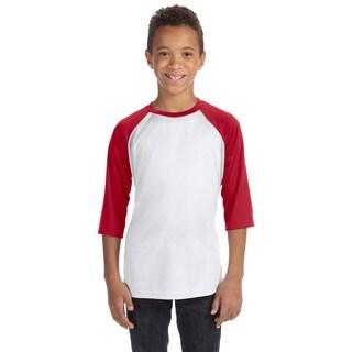 For Team 365 Boys' Sport Red/White Polyester Baseball T-shirt