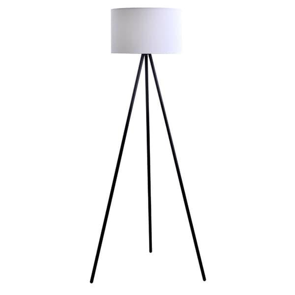 Catalina Hayden Black 61.25-inch 3-way Tripod Floor Lamp with Linen Shade