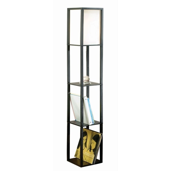 Catalina Finley 17559-011 62.8-inch Matte Black Square Wooden Etagere Floor Lamp