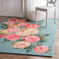 nuLOOM Handmade Contemporary Floral Blue Rug (3' x 5') - 3' x 5'
