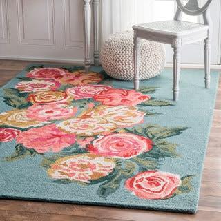 nuLOOM Handmade Contemporary Floral Area Rug