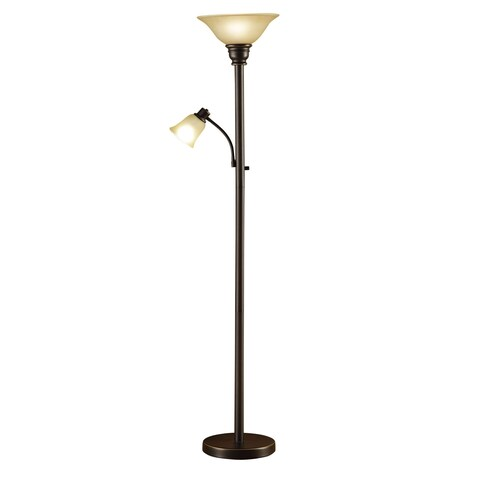 Catalina Kerrington 18223-002 71-Inch Oil Rubbed Bronze Mother and Daughter Torchiere Floor Lamp with Amber Glass Shades