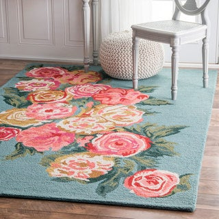 nuLOOM Handmade Contemporary Floral Blue Rug (5' x 8')