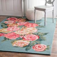 nuLOOM Handmade Contemporary Floral Blue Rug - 7'6 x 9'6