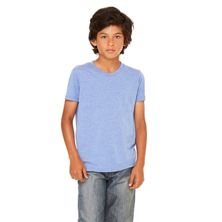 Youth's Blue Triblend Jersey Short-sleeved T-shirt