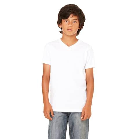 White Jersey Short-sleeve V-neck T-shirt
