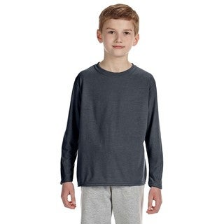 Gildan Youth's Performance Charcoal Polyester Long-sleeve T-shirt