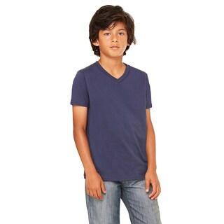Boys' Navy Cotton/Polyester Jersey Short-sleeve V-neck T-shirt