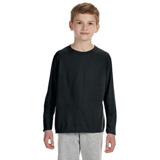 Youth Performance Black Polyester Long Sleeve T-shirt