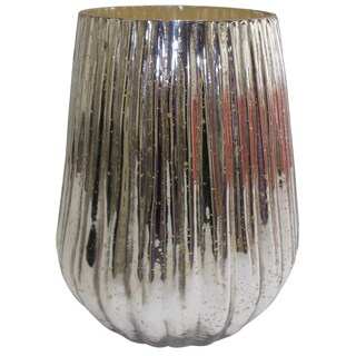 Silvertone Mercury Glass 8-inch Diameter x 10-inch High Vase