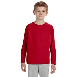 Gildan Youth Red Long-sleeve Performance T-shirt