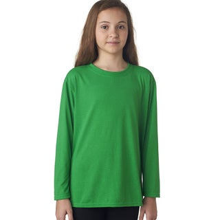 Youth Performance Long-sleeve Irish Green Polyester T-Shirt