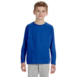 Gildan Youth's Performance Royal Blue Polyester Long-sleeve T-shirt