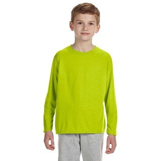 Gildan Youth Safety Green Polyester Long-sleeved Performance T-shirt