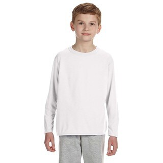 Gildan Youth Performance White Polyester Long Sleeve T-shirt