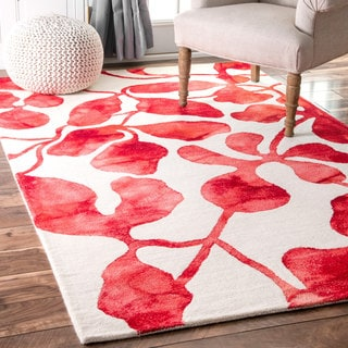 nuLOOM Handmade Contemporary Dip Dyed Red Rug (7'6 x 9'6)