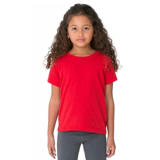 Girl's Red Poly-Cotton Short-Sleeve Crewneck T-Shirt