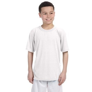 Boys White Polyester Performance T-Shirt