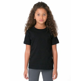 Girls' Black Poly/Cotton Short-sleeve Crewneck T-shirt