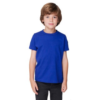 American Apparel Boy's Lapis Poly-Cotton Short-sleeve Crewneck T-shirt