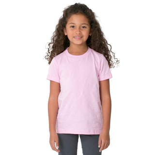 American Apparel Girls' Pink Poly-Cotton Short-sleeve Crewneck T-shirt