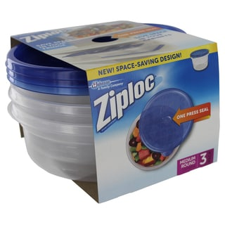 Ziploc 70933 Medium Round Ziploc Container 3-count