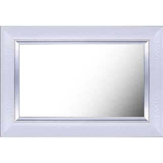 Hobbitholeco 27.25-inch x 35.25-inch (20-inch x 28-inch Inner Mirror) White Fancy Plain Mirror with Liner