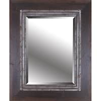 HobbitHoleCo Brown Industrial Hand Stained Framed with Metal Beveled Mirror